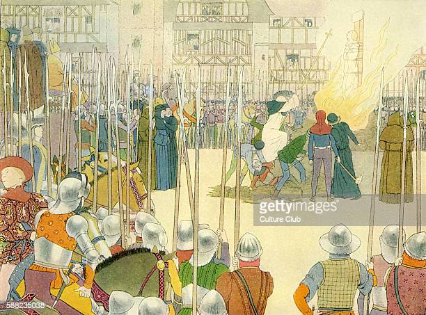 Joan of Arc being burnt at the stake 30 May 1431 Executed following charge of heresy by English/ Burgundian authorities Illustration by Boutet de...