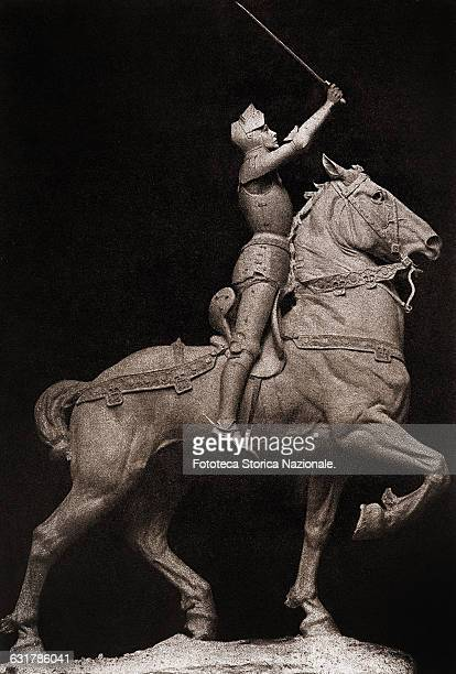 Joan of Arc equestrian monument by Anna Vaughn Hyatt Huntington . Photography sepia toning from the sculpture, United States, New York, December...
