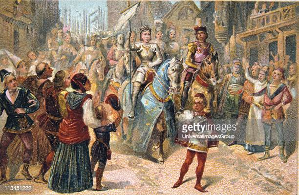 Joan of Arc French national heroine during the Hundred Years' War between France and England Joan entering Orleans in triumph 1429 Nineteenth century...
