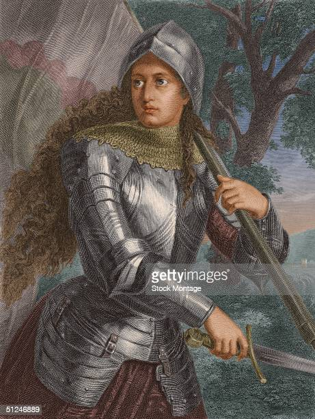1429 Joan of Arc French saint and national heroine who led her troops to victory over the British during the Hundred Years War carrying a sword and a...