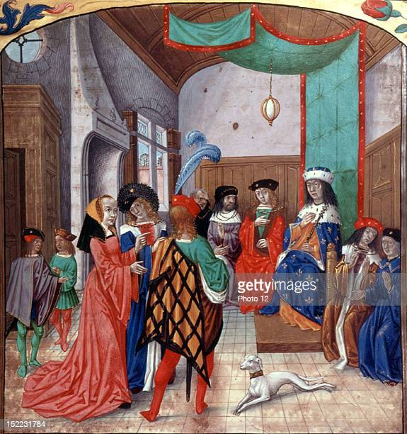 Joan of Arc going to Chinon to see the king of France Enlargement Miniature Late 15thC