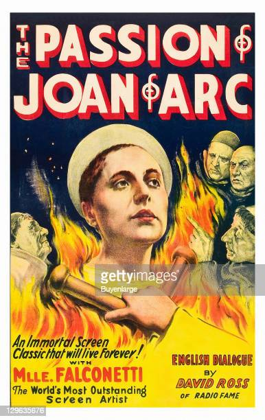 Joan of Arc in the flames of fire on a poster that advertises the movie 'The Passion of Joan of Arc' 1928