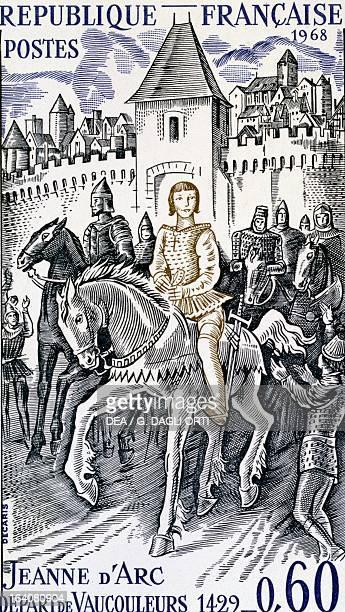 Joan of Arc leaving Vacoleurs through the Porte de France February 23 engraving for postmark 20th century France