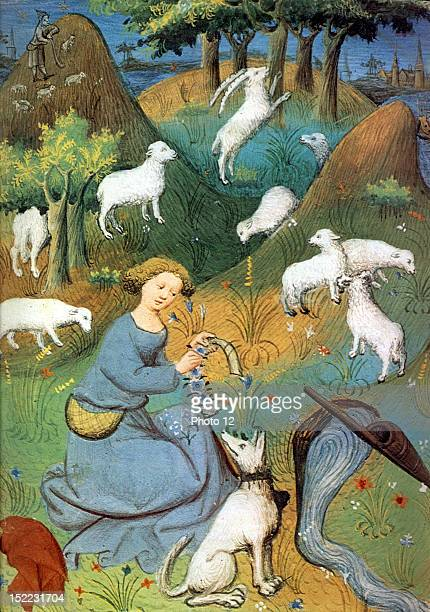 Joan of Arc looking after her sheep Miniature 15th century