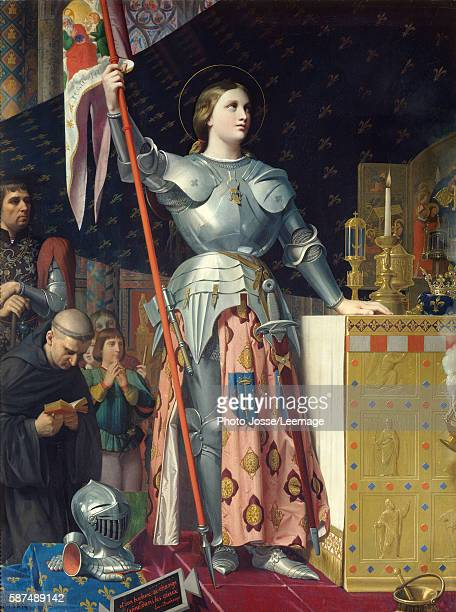 Joan of Arc on Coronation of Charles VII in the Cathedral of Reims Painting by Jean Auguste Dominique Ingres oil on canvas 1854 Musee du Louvre Paris...