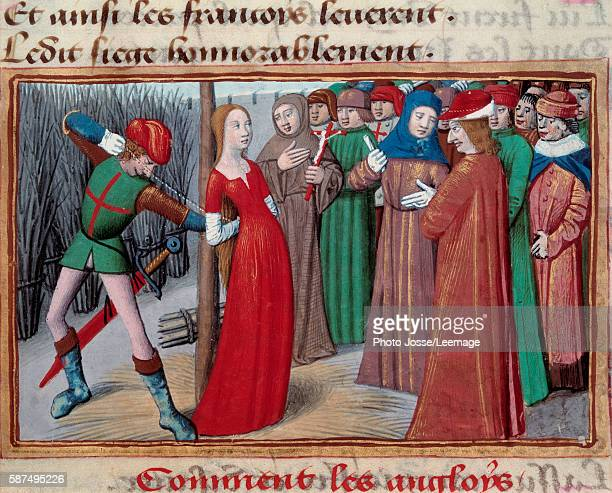 Joan of Arc tied to the stake Miniature from the manuscript of Vigils of king Charles VII by Martial d'Auvergne 1484 Fol71 BN Paris France