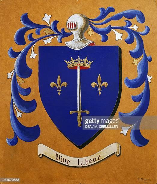 Joan of Arc's coat of arms with the motto Vive Labeur France 15th century Vaucouleurs Musée Municipal