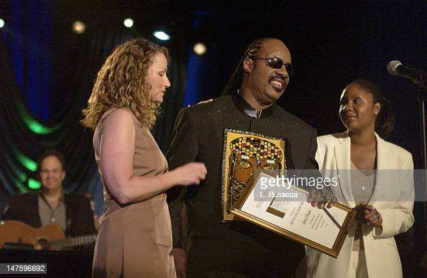 Joan Osborne Stevie Wonder and daughter during Song Writers Hall of Fame Awards 2002 at Sheraton Hotel in New York City New York United States