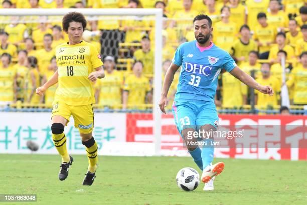 Joan Oumari of Sagan Tosu in action during the JLeague J1 match between Kashiwa Reysol and Sagan Tosu at Sankyo Frontier Kashiwa Stadium on September...