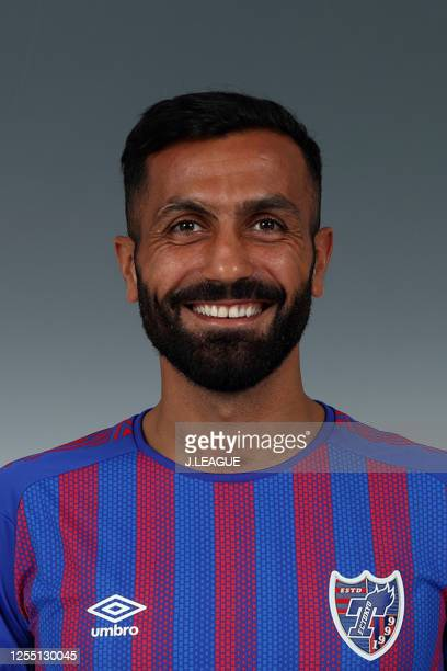 Joan Oumari poses for photographs during the FC Tokyo portrait session on January 25, 2020 in Japan.