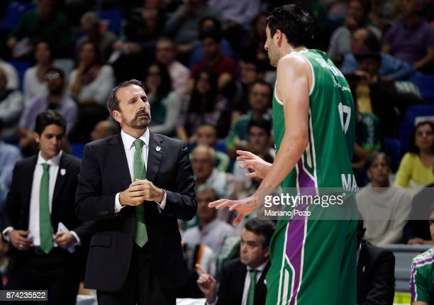 Joan Plaza Head Coach of Unicaja Malaga in action during the 2017/2018 Turkish Airlines EuroLeague Regular Season Round 7 game between Unicaja Malaga...