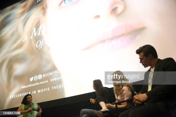 """Joan Riley, Amy Koppelman, Amanda Seyfried and Finn Wittrock attend the """"A Mouthful Of Air"""" Q&A with Amanda Seyfried, cast and filmmakers at AMC..."""