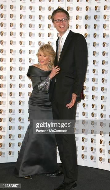 Joan Rivers and Stephen Merchant during 2007 British Academy Television Awards Press Room at London Palladium in London Great Britain