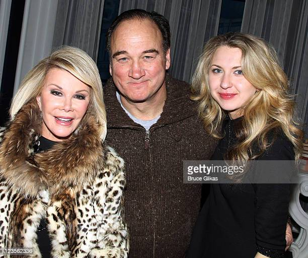 Joan Rivers Jim Belushi and Nina Arianda pose backstage at The Revival of Born Yesterday on Broadway at The Cort Theater on April 22 2011 in New York...