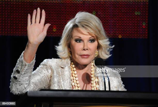 """Joan Rivers of """"How'd You Get So Rich?"""" speaks during the MTV Networks portion of the 2009 Summer Television Critics Association Press Tour at the..."""