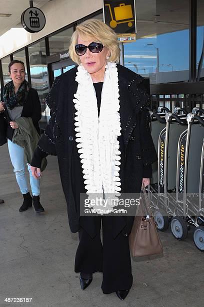 Joan Rivers seen at Los Angeles International airport on April 28 2014 in Los Angeles California