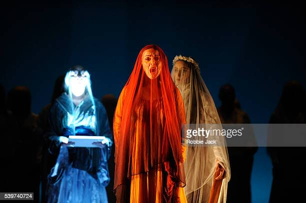 Joan Rodgers as Clemence Countess of Tripoli with artists of the company in the English National Opera's production of Kaija Saariaho's opera...