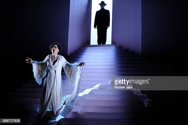 Joan Rogers and Alan Ewing perform in Thomas Ades's opera Powder Her Face in the Linbury Theatre at the Royal Opera House Covent Garden in London