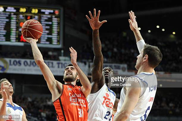 Joan Sastre #30 guard of Valencia Basket in action during the Liga Endesa game between Real Madrid and Valencia Basket at Barclaycard Center on...