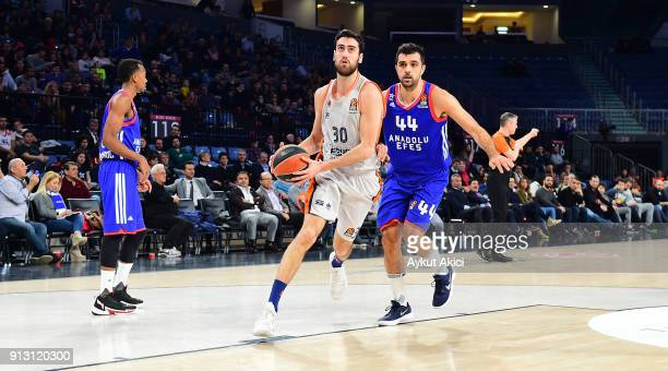 Joan Sastre #30 of Valencia Basket competes with Krunoslav Simon #44 of Anadolu Efes Istanbul during the 2017/2018 Turkish Airlines EuroLeague...