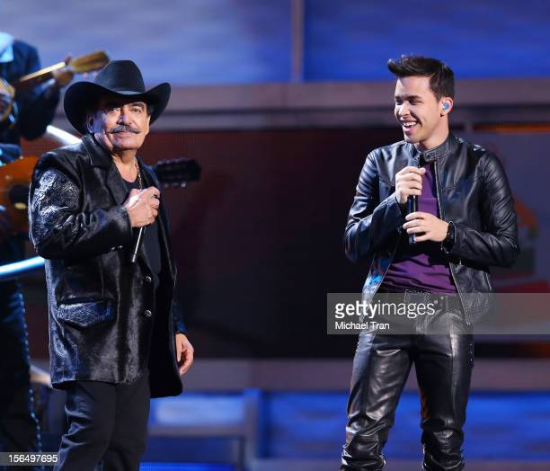 Joan Sebastian and Prince Royce perform onstage at the XIII Annual Latin Grammy Awards held at Mandalay Bay Events Center on November 15 2012 in Las...