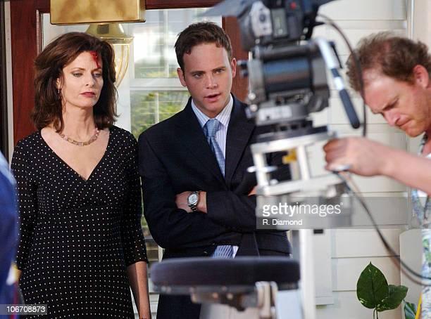 Joan Severance and Rodney Scott during Joan Severance and Rodney Scott Filming First Offense in Vinings Georgia April 18 2004 at SoHo Restaurant in...