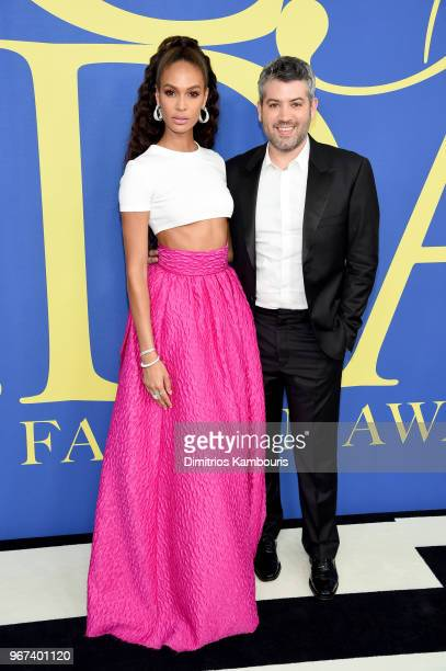 Joan Smalls and designer Brandon Maxwell attend the 2018 CFDA Fashion Awards at Brooklyn Museum on June 4 2018 in New York City