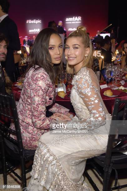Joan Smalls and Hailey Baldwin attend the 2018 amfAR Gala New York at Cipriani Wall Street on February 7 2018 in New York City