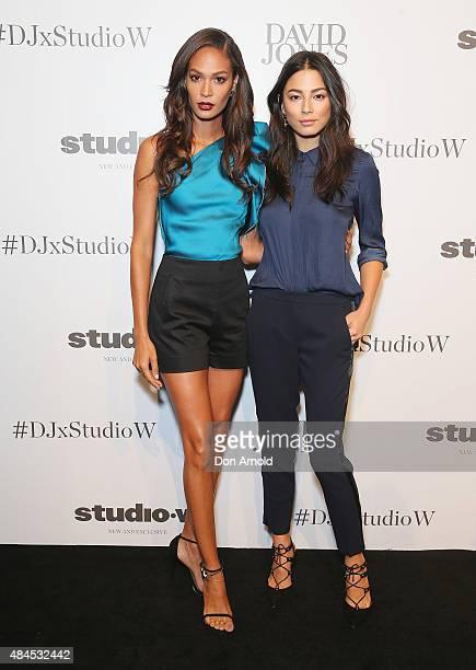 Joan Smalls and Jessica Gomes arrive ahead of the Studio.W launch at David Jones Elizabeth Street Store on August 20, 2015 in Sydney, Australia.