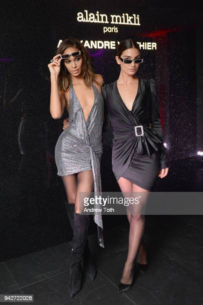 Joan Smalls and Lily Aldridge attend the Alain Mikli x Alexandre Vauthier Launch Party on April 5 2018 in New York City