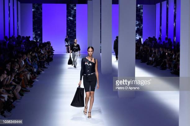 Joan Smalls and models walk the runway at the Fila show during Milan Fashion Week Spring/Summer 2019 on September 23 2018 in Milan Italy