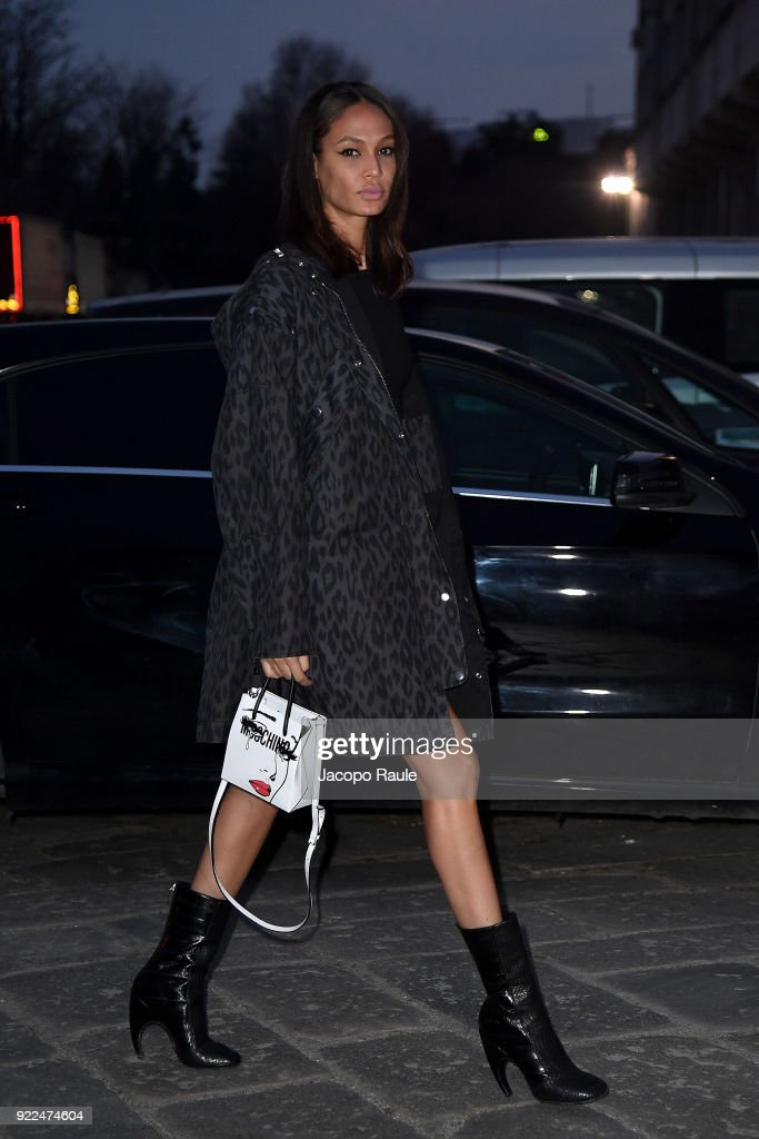 Joan Smalls arrives at the Moschino show during Milan Fashion Week Fall/Winter 2018/19 on February 21, 2018 in Milan, Italy.