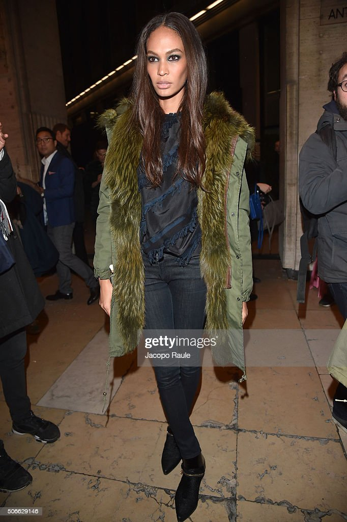 Joan Smalls attends at the Versace fashion show as part of Paris Fashion Week Haute Couture Spring/Summer 2016 on January 24, 2016 in Paris, France.