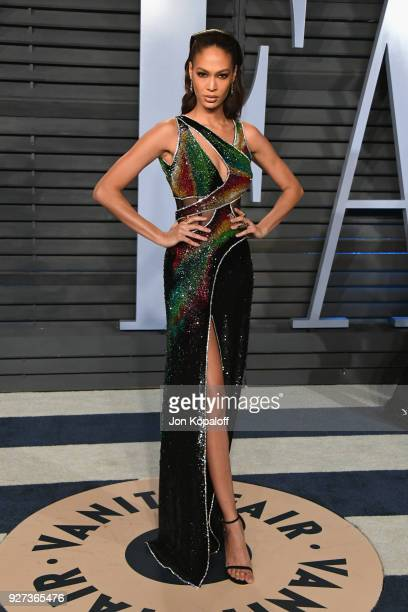 Joan Smalls attends the 2018 Vanity Fair Oscar Party hosted by Radhika Jones at Wallis Annenberg Center for the Performing Arts on March 4 2018 in...
