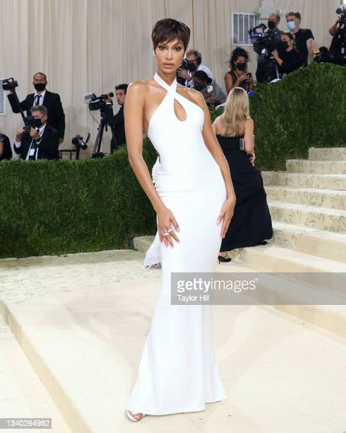 """Joan Smalls attends the 2021 Met Gala benefit """"In America: A Lexicon of Fashion"""" at Metropolitan Museum of Art on September 13, 2021 in New York City."""