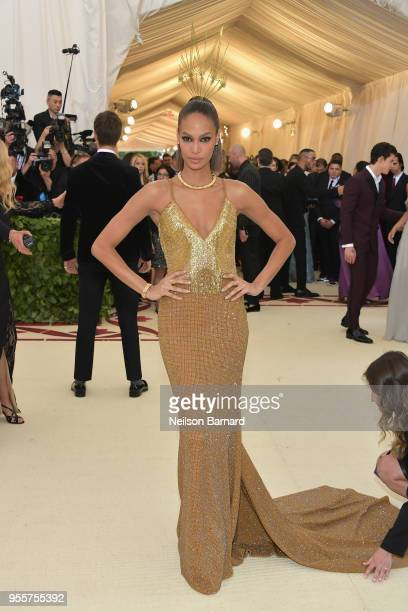 Joan Smalls attends the Heavenly Bodies Fashion The Catholic Imagination Costume Institute Gala at The Metropolitan Museum of Art on May 7 2018 in...