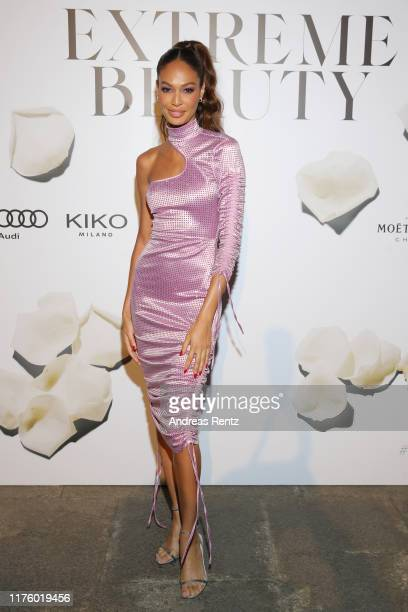 Joan Smalls attends the Vogue Italia Cocktail Party during the Milan Fashion Week Spring/Summer 2020 on September 20, 2019 in Milan, Italy.