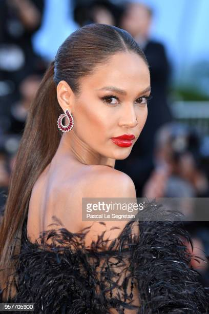 Joan Smalls earring detail attends the screening of 'Girls Of The Sun ' during the 71st annual Cannes Film Festival at Palais des Festivals on May 12...