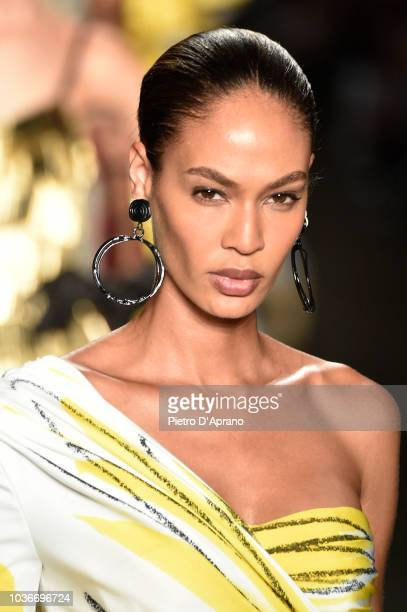 Joan Smalls fashion detail walks the runway at the Moschino show during Milan Fashion Week Spring/Summer 2019 on September 20 2018 in Milan Italy