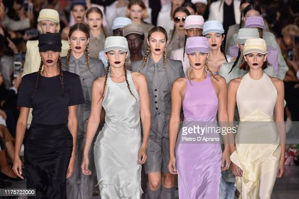 Joan Smalls Gigi Hadid Bella Hadid and Kaia Gerber walk the runway at the Max Mara show during Milan Fashion Week Spring/Summer 2020 on September 19...