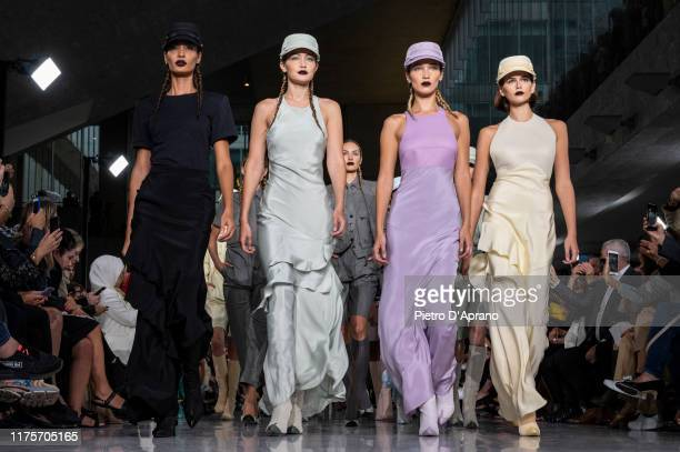 Joan Smalls Gigi Hadid Bella Hadid and Kaia Gerber walks the runway at the Max Mara show during the Milan Fashion Week Spring/Summer 2020 on...