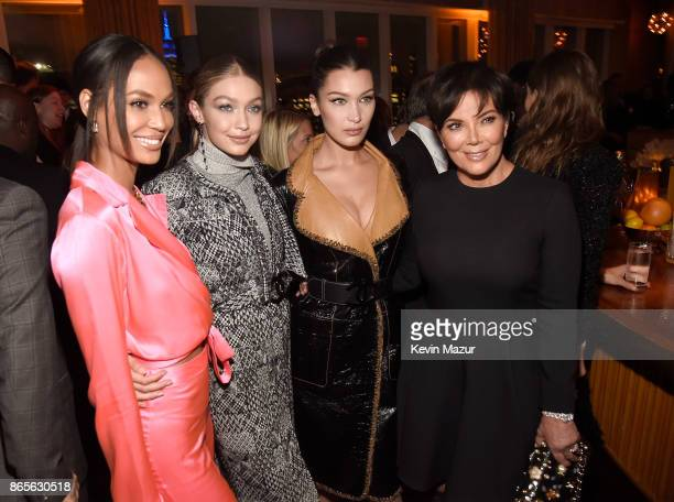 Joan Smalls Gigi Hadid Bella Hadid and Kris Jenner attend V Magazine's intimate dinner in honor of Karl Lagerfeld at The Top of The Standard on...