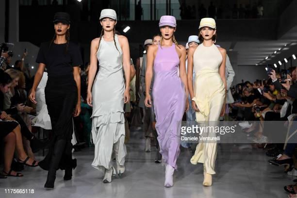 Joan Smalls Gigi Hadid Bella Hadid Kaia Gerber and models walk the runway at the Max Mara show during the Milan Fashion Week Spring/Summer 2020 on...