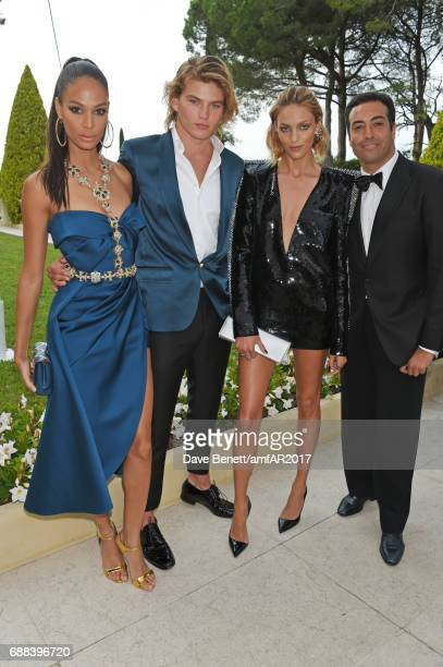 Joan Smalls Jordan Barrett Anja Rubik and Mohammed Al Turki arrive at the amfAR Gala Cannes 2017 at Hotel du CapEdenRoc on May 25 2017 in Cap...
