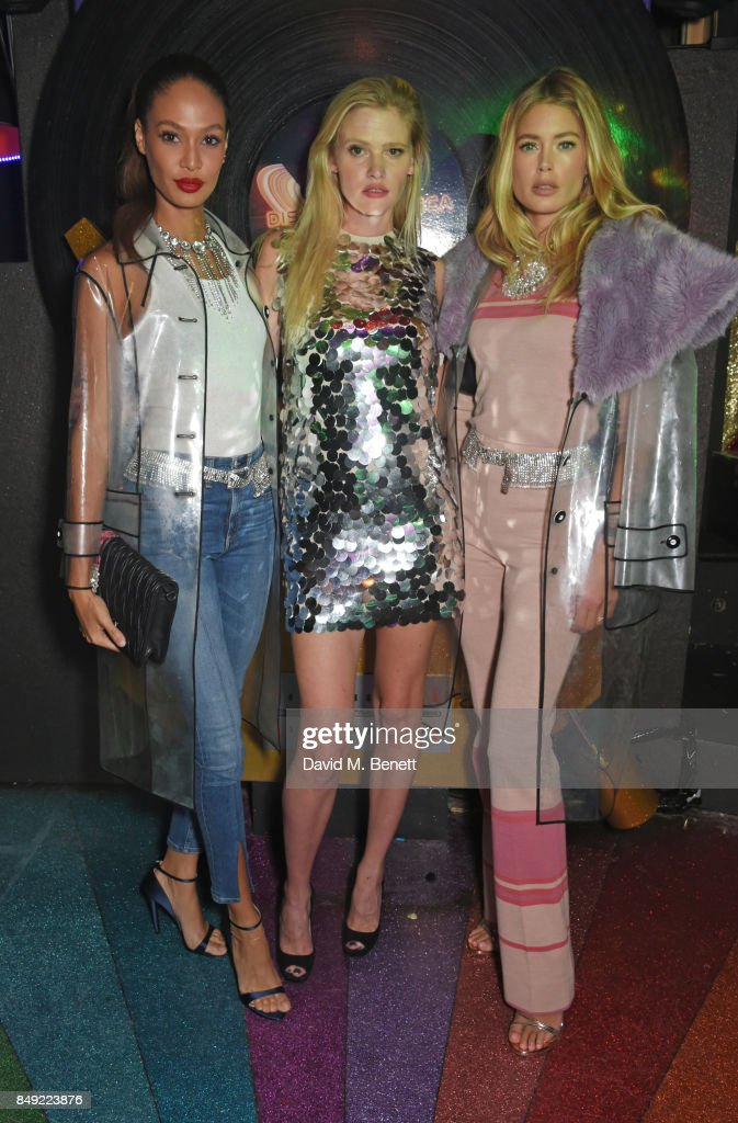 Joan Smalls, Lara Stone and Doutzen Kroes attend the LOVE magazine x Miu Miu party, held during London Fashion Week, at Loulou's on September 18, 2017 in London, England.