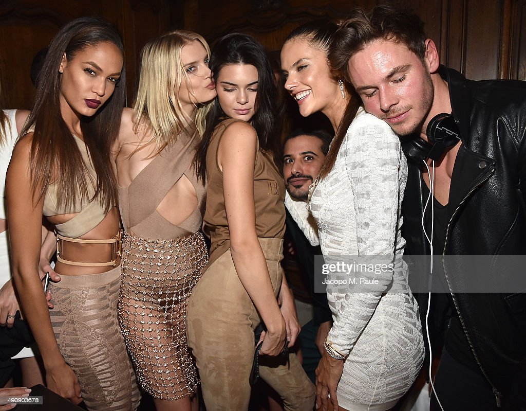 Joan Smalls, Lily Donaldson, Kendall Jenner, Mohamed Sultan, Alessandra Ambrosio and Cedric Marian Alexander attend Balmain aftershow party as part of Paris Fashion Week Womenswear Spring/Summer 2016 at Laperouse on October 1, 2015 in Paris, France.
