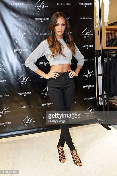 Joan Smalls poses as part of True Religion Collection event at Nordstrom San Juan on April 4 2015 in San Juan Puerto Rico