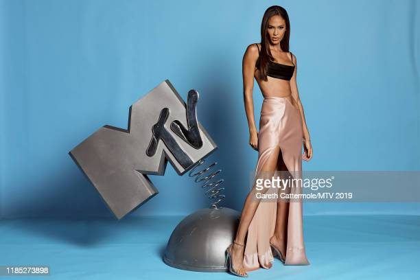 Joan Smalls poses at the MTV EMAs 2019 studio at FIBES Conference and Exhibition Centre on November 03, 2019 in Seville, Spain.