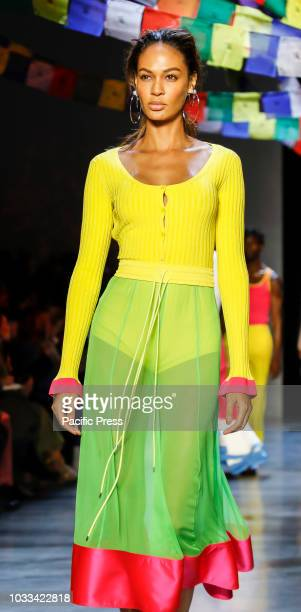 Joan Smalls walks runway for the Prabal Gurung Spring/Summer 2019 runway show during New York Fashion Week at Spring Studios Manhattan