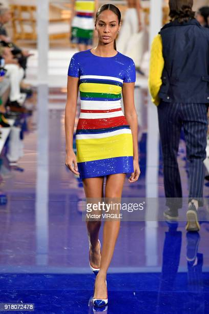 Joan Smalls walks the runway at Ralph Lauren Ready to Wear Spring/Summer 2018 fashion show during the New York Fashion Week on February 12 2018 in...